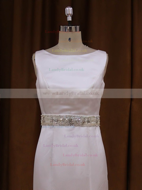 White Covered Button Scoop Neck Satin Sashes / Ribbons Court Train Wedding Dresses #LDB00021917