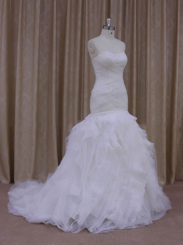 Popular Trumpet/Mermaid White Tulle Criss Cross Sweetheart Wedding Dress #LDB00021919