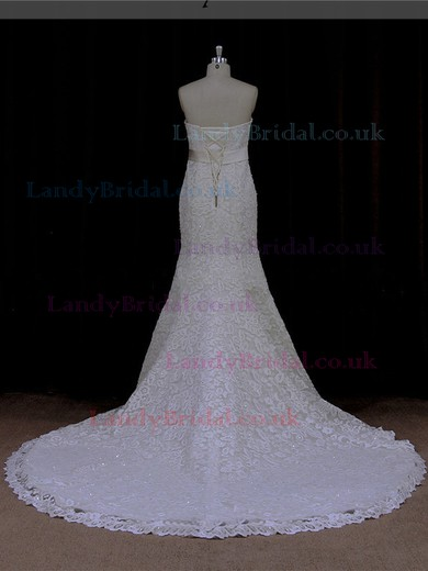 Trumpet/Mermaid Ivory Lace Sashes / Ribbons Strapless Lace-up Wedding Dresses #LDB00021921