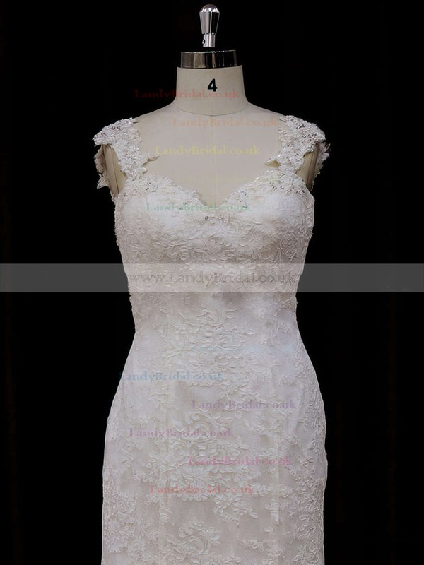 Chapel Train Open Back Lace Beading Trumpet/Mermaid Cap Straps Wedding Dresses #LDB00021926