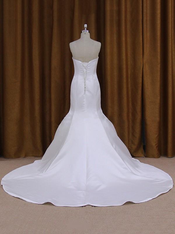 White Trumpet/Mermaid Lace-up Taffeta Ruffles Sweetheart Wedding Dress #LDB00021932