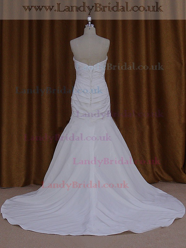 Trumpet/Mermaid Lace-up Ivory Taffeta Ruffles Sweetheart Wedding Dresses #LDB00021936