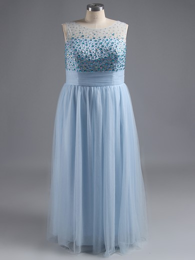 Exclusive Ankle-length Scoop Neck Tulle Crystal Detailing Purple Prom Dress #LDB02016696
