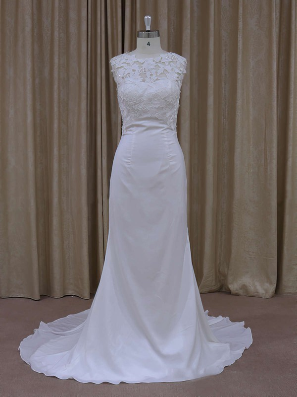 Sheath/Column Lace Chiffon Sequins Cap Straps Covered Button Scoop Neck Wedding Dress #LDB00021942