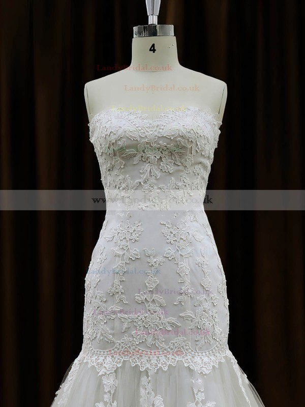Sweetheart Ivory Tulle Appliques Lace Chapel Train Wedding Dresses #LDB00021959
