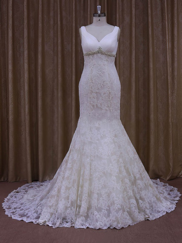 Beautiful Trumpet/Mermaid Ivory Lace Tulle Appliques Lace V-neck Wedding Dress #LDB00021964
