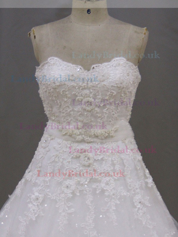 A-line Lace-up Tulle Appliques Lace Sweetheart Gorgeous Wedding Dresses #LDB00021972