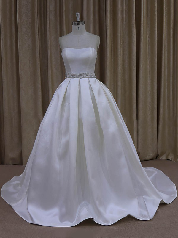 Ball Gown Ivory Taffeta Sashes / Ribbons Sweetheart Lace-up Wedding Dresses #LDB00021977