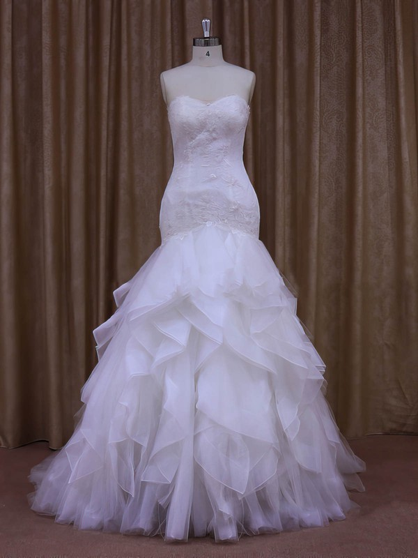 Trumpet/Mermaid White Coolest Lace Tulle Appliques Lace Sweetheart Wedding Dress #LDB00021987