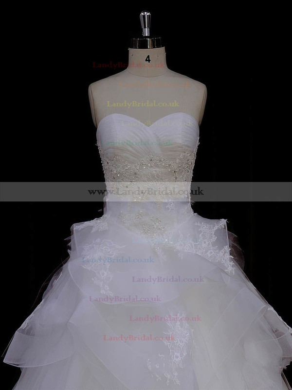 Princess Great Ivory Tulle Appliques Lace Sweetheart Wedding Dresses #LDB00021988