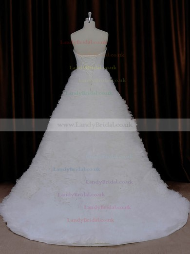 Ivory Lace-up Sweetheart Tulle Pleats Court Train Best Wedding Dress #LDB00021989