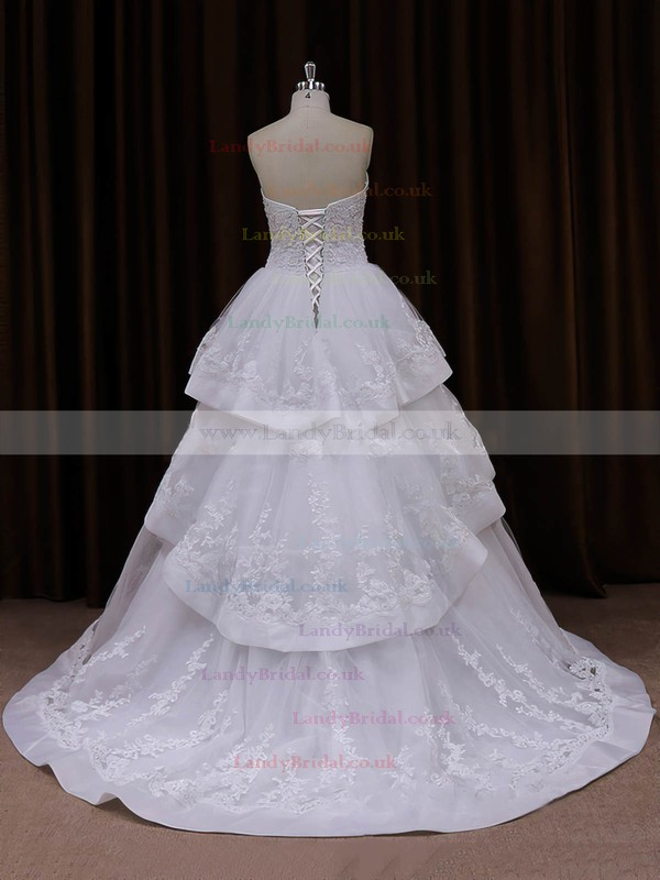 Princess Ivory Tulle Appliques Lace Lace-up Sweetheart Wedding Dresses #LDB00021990