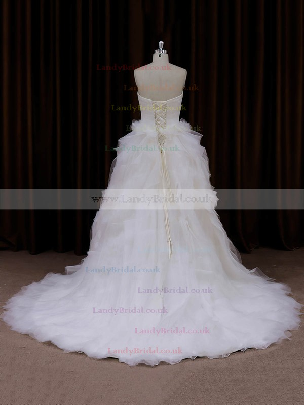 Sweetheart Lace-up Tulle Beading Princess Ivory Wedding Dress #LDB00021991