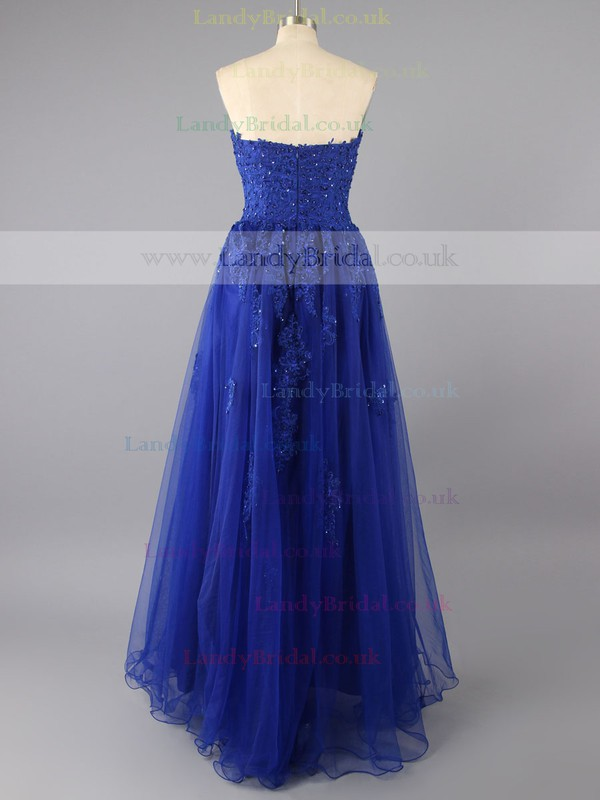 Noble Sweetheart Tulle with Appliques Lace Royal Blue Floor-length Prom Dresses #LDB02014224