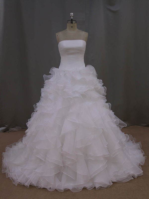 Princess Strapless Ivory Organza Pleats Court Train Wedding Dress #LDB00021994