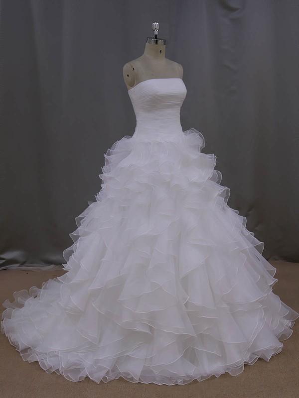 Princess Strapless Ivory Organza Pleats Court Train Wedding Dress #LDB00021994