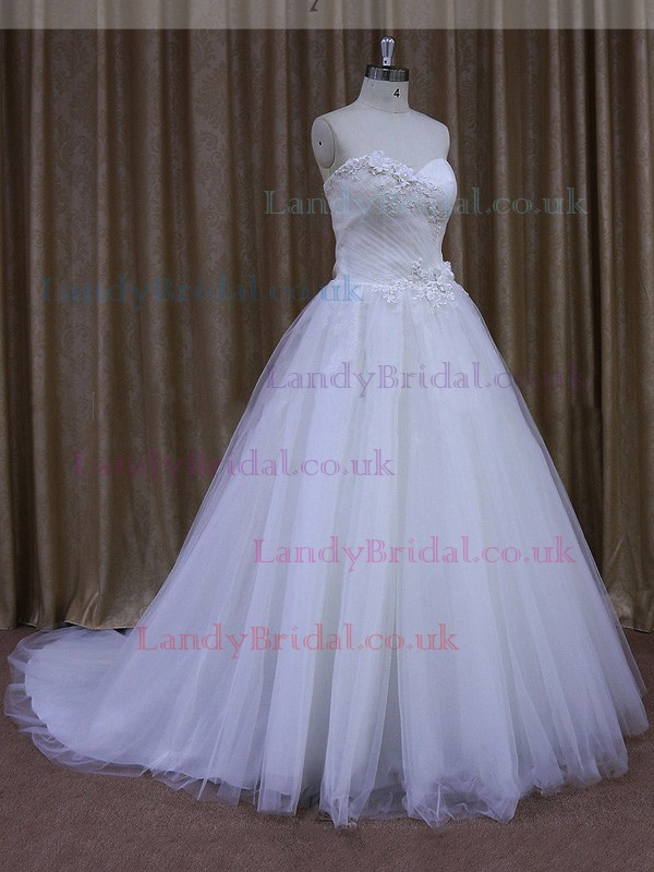 Sweetheart Tulle Appliques Lace Court Train Vintage White Wedding Dresses #LDB00021636