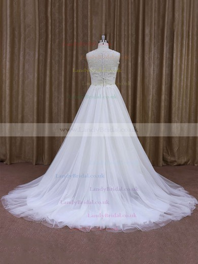 Scoop Neck A-line White Lace Tulle with Sequins Modest Wedding Dresses #LDB00021637