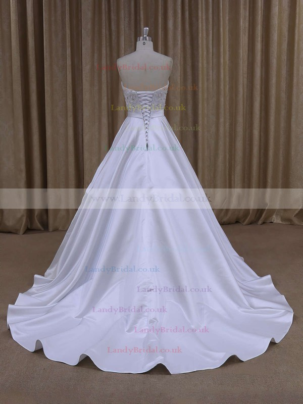 Elegant Ivory Sweetheart Satin Beading Court Train Wedding Dresses #LDB00021686
