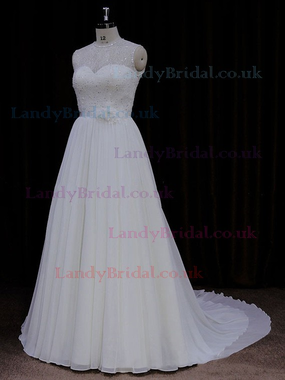 Affordable Court Train Scoop Neck Chiffon Sequins Ivory Wedding Dresses #LDB00021761