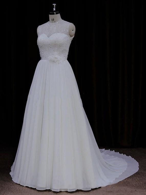 Affordable Court Train Scoop Neck Chiffon Sequins Ivory Wedding Dresses #LDB00021761