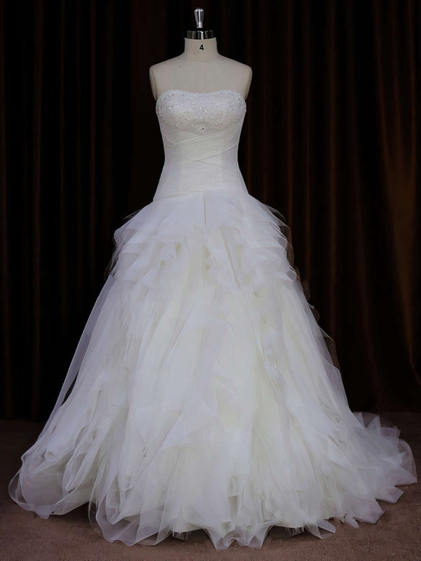 A-line Tulle Beading Sweep Train Ivory Strapless Wedding Dress #LDB00021766
