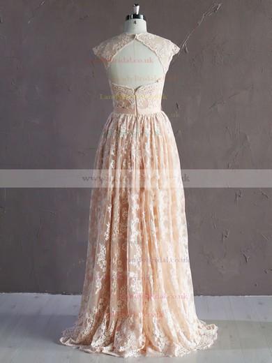 Sweetheart Sashes/Ribbons A-line Fashion Pink Lace Wedding Dress #LDB00021771