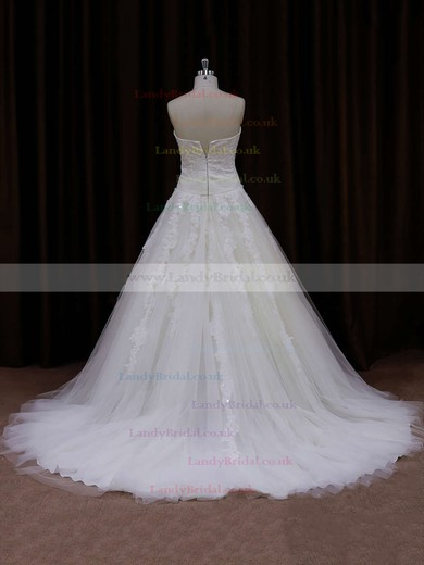 Exclusive Sweetheart Tulle Appliques Lace White Princess Wedding Dress #LDB00021772