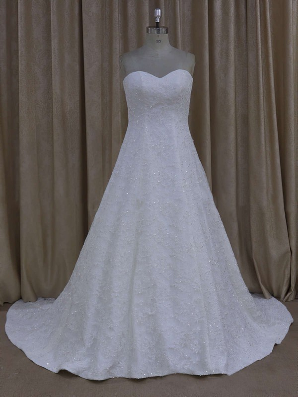 Court Train Sweetheart Tulle Appliques Lace Ivory Top Wedding Dress #LDB00021773