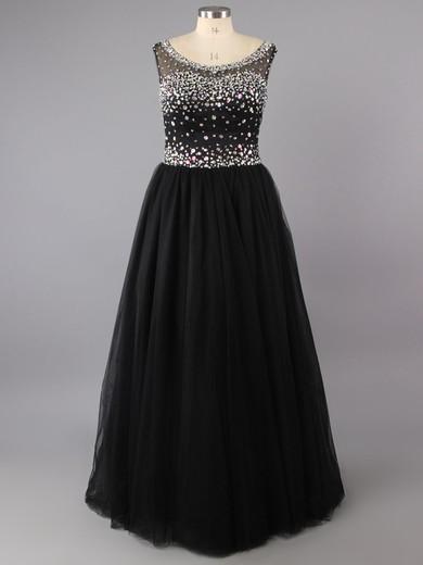 Princess Satin Tulle Scoop Neck Floor-length Rhinestone Prom Dresses #LDB02016512