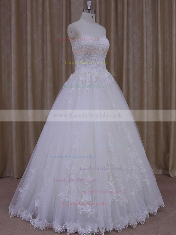 Tulle Appliques Lace Floor-length Newest Ivory Ball Gown Wedding Dress #LDB00021778