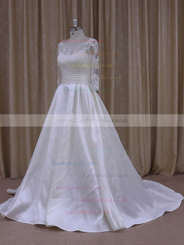 Scoop Neck Tulle Taffeta with Appliques Lace Ivory Long Sleeve Prom Dress #LDB00021781
