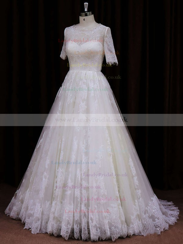 Ivory Scoop Neck Lace Sequins Court Train Short Sleeve Wedding Dress #LDB00021782