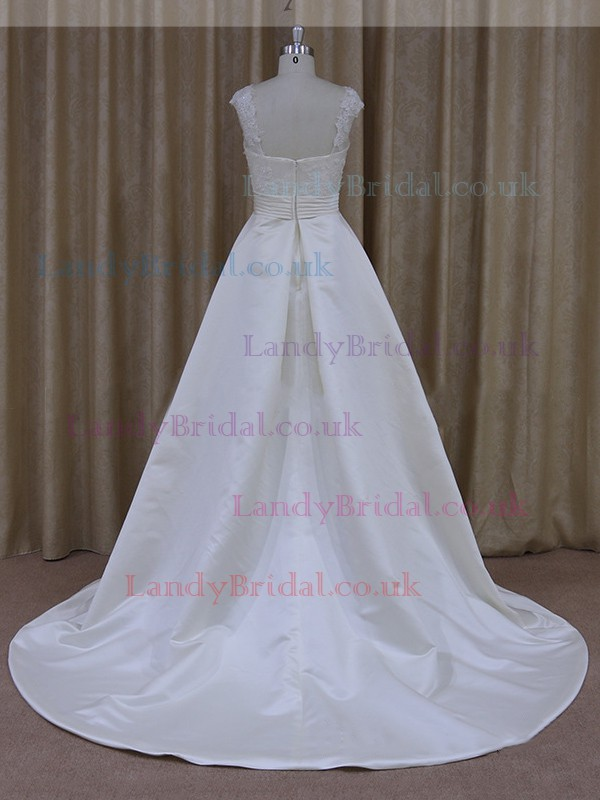 A-line Ivory Scoop Neck Satin Tulle Appliques Lace Popular Wedding Dress #LDB00021783