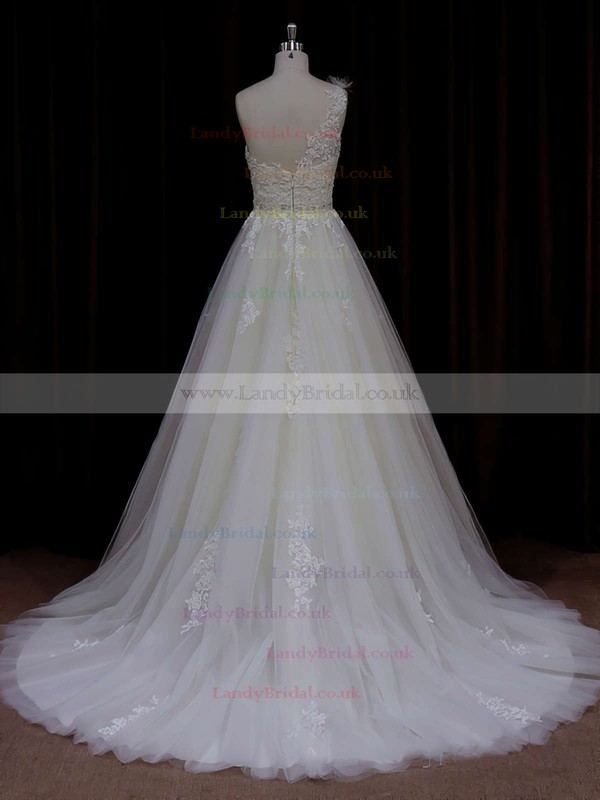 Beautiful Ivory A-line Tulle Appliques Lace One Shoulder Wedding Dress #LDB00021784