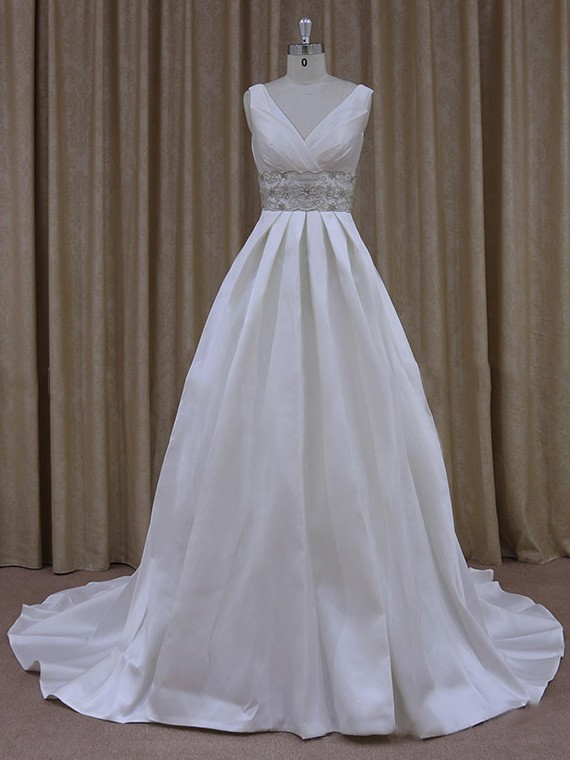 Gorgeous Satin with Beading Court Train Ivory V-neck Wedding Dress #LDB00021790