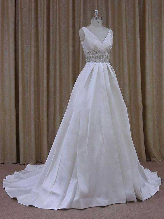 Gorgeous Satin with Beading Court Train Ivory V-neck Wedding Dress #LDB00021790