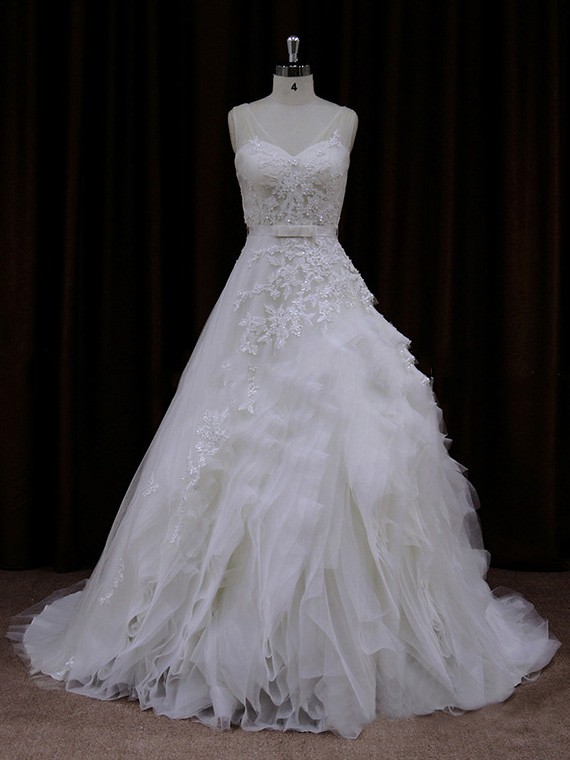 Tulle V-neck Appliques Lace Court Train Nice Ivory Wedding Dress #LDB00021792