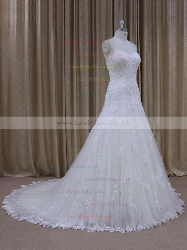 Great Sweetheart Court Train Tulle Appliques Lace Ivory Wedding Dress #LDB00021803
