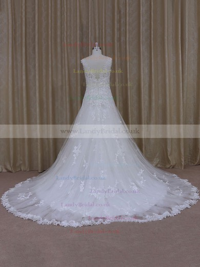 Ivory Tulle Sweetheart Appliques Lace Court Train Best Wedding Dress #LDB00021805