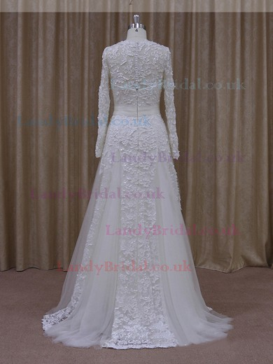 Ivory A-line Scoop Neck Tulle Appliques Lace Long Sleeve Wedding Dress #LDB00021807