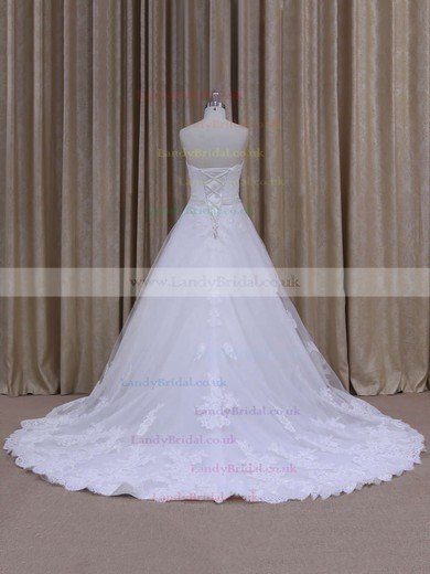 Latest Strapless Tulle Appliques Lace Chapel Train White Wedding Dress #LDB00021808