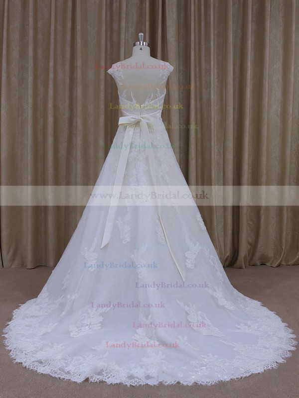 Scoop Neck Chapel Train White Tulle Appliques Lace Online Wedding Dress #LDB00021814