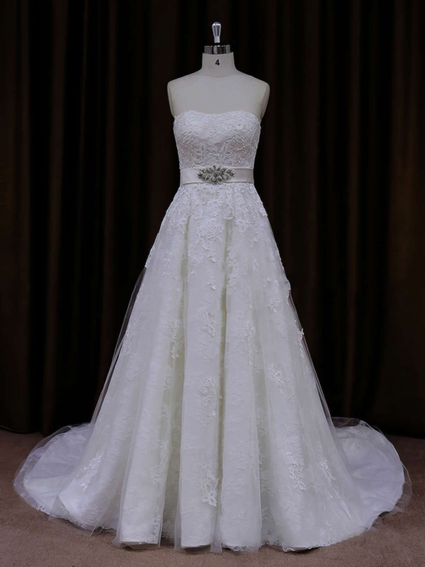 A-line Ivory Tulle Appliques Lace Modest Strapless Wedding Dress #LDB00021815