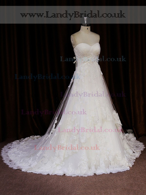 Modest Court Train Tulle Appliques Lace Ivory Sweetheart Wedding Dresses #LDB00021818