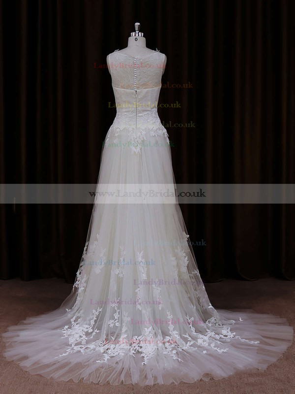 Ivory Scoop Neck Tulle with Appliques Lace Court Train Unique Wedding Dress #LDB00021819