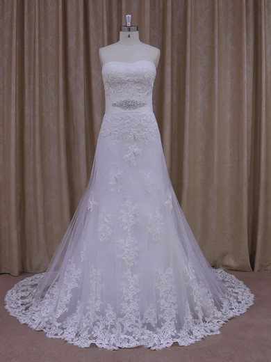 A-line Elegant White Tulle Appliques Lace Strapless Wedding Dresses #LDB00021822