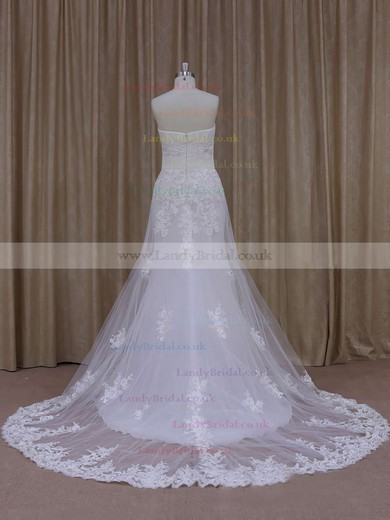 A-line Elegant White Tulle Appliques Lace Strapless Wedding Dresses #LDB00021822