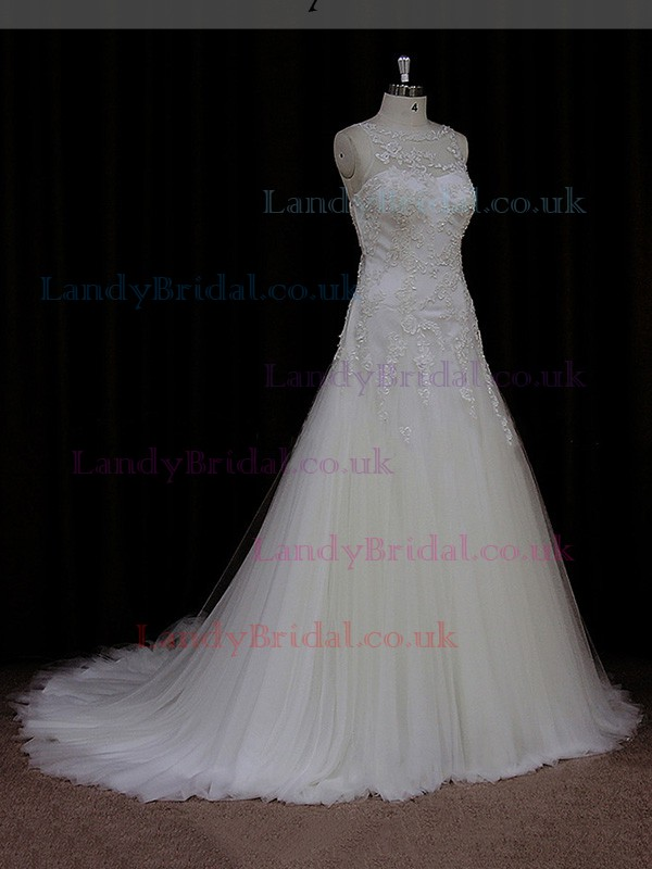 Sweep Train Simple Tulle Appliques Lace Scoop Neck Ivory Wedding Dress #LDB00021823