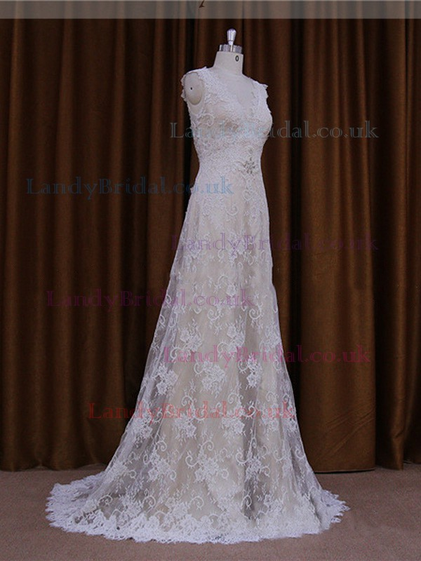 Affordable V-neck Ivory Lace Elastic Woven Satin Beading Sweep Train Wedding Dresses #LDB00021825